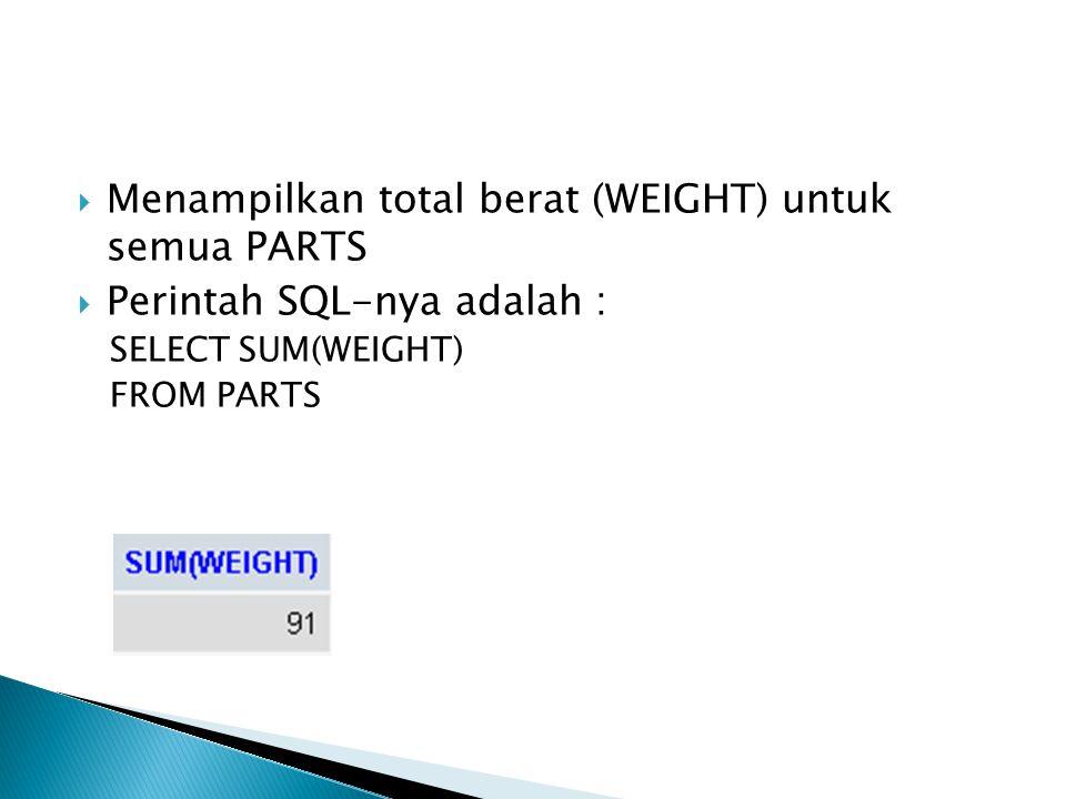  Menampilkan total berat (WEIGHT) untuk semua PARTS  Perintah SQL-nya adalah : SELECT SUM(WEIGHT) FROM PARTS