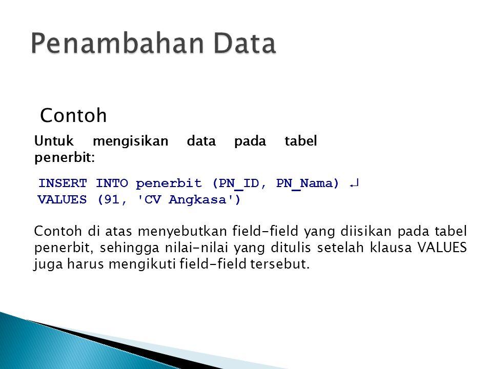 Contoh INSERT INTO penerbit (PN_ID, PN_Nama)  VALUES (91, 'CV Angkasa') Contoh di atas menyebutkan field-field yang diisikan pada tabel penerbit, seh