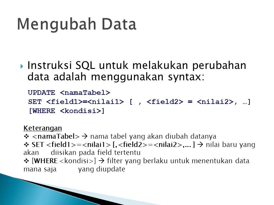  Instruksi SQL untuk melakukan perubahan data adalah menggunakan syntax: UPDATE SET = [, =, …] [WHERE ] Keterangan   nama tabel yang akan diubah da