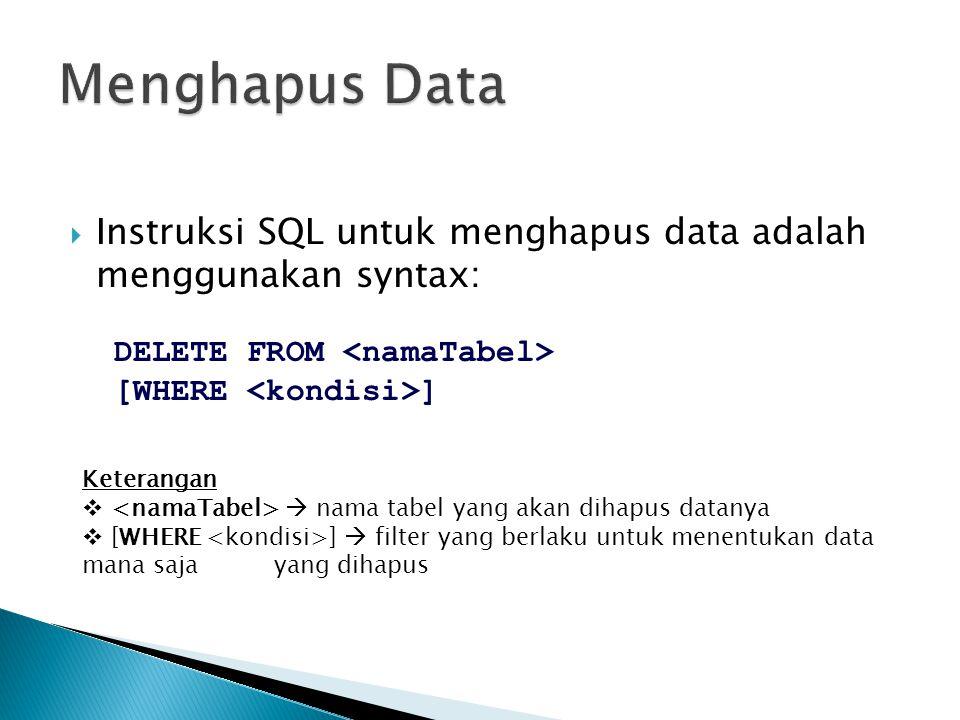  Instruksi SQL untuk menghapus data adalah menggunakan syntax: DELETE FROM [WHERE ] Keterangan   nama tabel yang akan dihapus datanya  [WHERE ] 