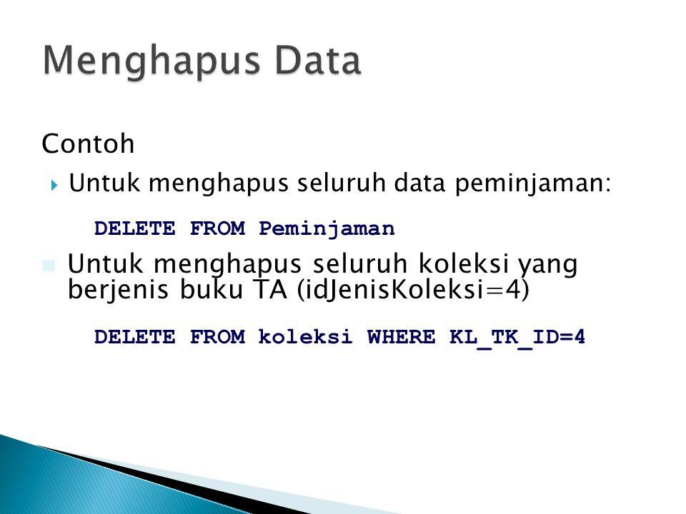  Untuk menghapus seluruh data peminjaman: Contoh DELETE FROM Peminjaman  Untuk menghapus seluruh koleksi yang berjenis buku TA (idJenisKoleksi=4) DE