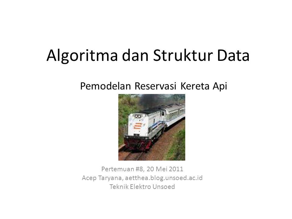 Algoritma dan Struktur Data Pertemuan #8, 20 Mei 2011 Acep Taryana, aetthea.blog.unsoed.ac.id Teknik Elektro Unsoed Pemodelan Reservasi Kereta Api