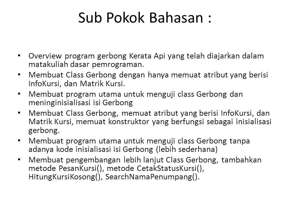 Sub Pokok Bahasan : • Overview program gerbong Kerata Api yang telah diajarkan dalam matakuliah dasar pemrograman. • Membuat Class Gerbong dengan hany
