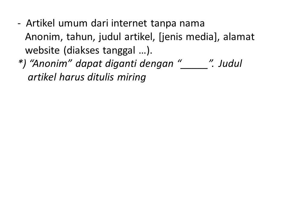 - Artikel umum dari internet tanpa nama Anonim, tahun, judul artikel, [jenis media], alamat website (diakses tanggal …).