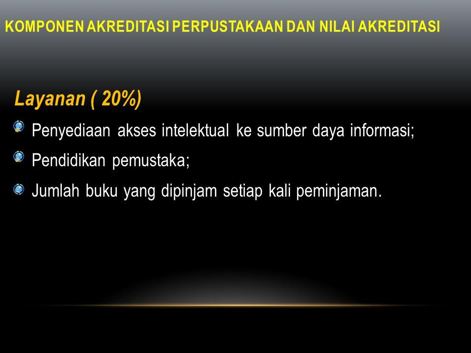KOMPONEN AKREDITASI PERPUSTAKAAN DAN NILAI AKREDITASI Layanan ( 20%) • Penyediaan akses intelektual ke sumber daya informasi; • Pendidikan pemustaka;
