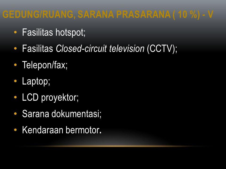 GEDUNG/RUANG, SARANA PRASARANA ( 10 %) - V • Fasilitas hotspot; • Fasilitas Closed-circuit television (CCTV); • Telepon/fax; • Laptop; • LCD proyektor