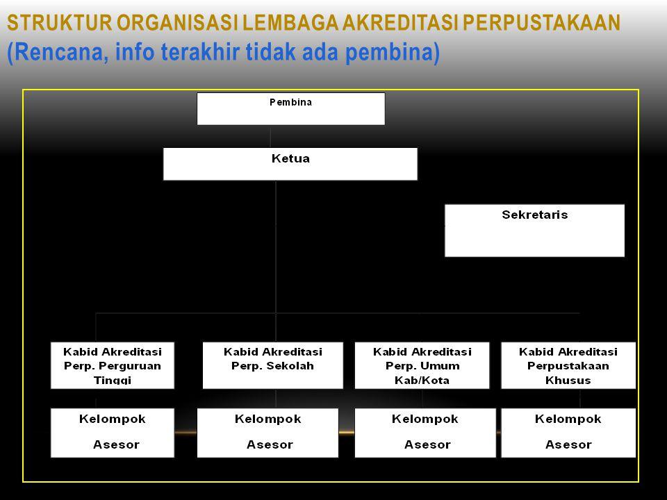 STRUKTUR ORGANISASI LEMBAGA AKREDITASI PERPUSTAKAAN (Rencana, info terakhir tidak ada pembina)