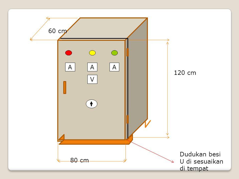 V AAA 120 cm 80 cm 60 cm Dudukan besi U di sesuaikan di tempat