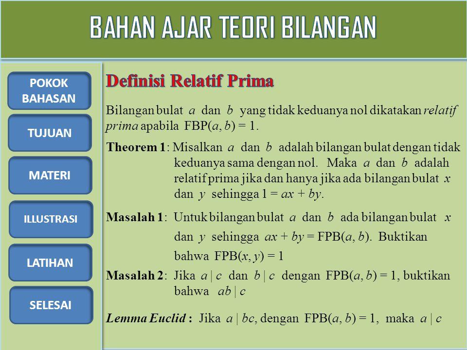 TUJUAN MATERI ILLUSTRASI LATIHAN SELESAI POKOK BAHASAN Bilangan bulat a dan b yang tidak keduanya nol dikatakan relatif prima apabila FBP(a, b) = 1. M