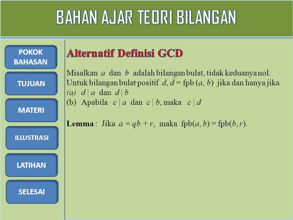 TUJUAN MATERI ILLUSTRASI LATIHAN SELESAI POKOK BAHASAN Lemma : Jika a = qb + r, maka fpb(a, b) = fpb(b, r). Misalkan a dan b adalah bilangan bulat, ti