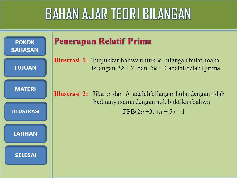 TUJUAN MATERI ILLUSTRASI LATIHAN SELESAI POKOK BAHASAN 1.Diberikan bilangan bulat a, b dan c sehingga FPB(a, b) = 1 dan c | a.