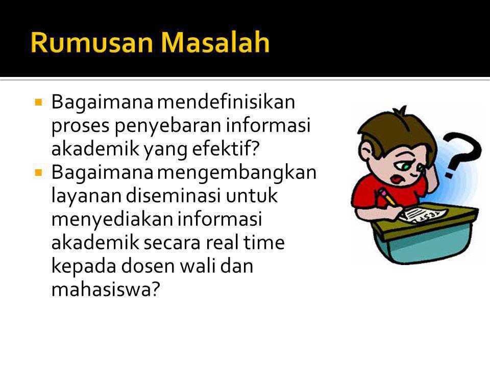  Membangun layanan diseminasi informasi akademik berbasis SMS dan E- mail.