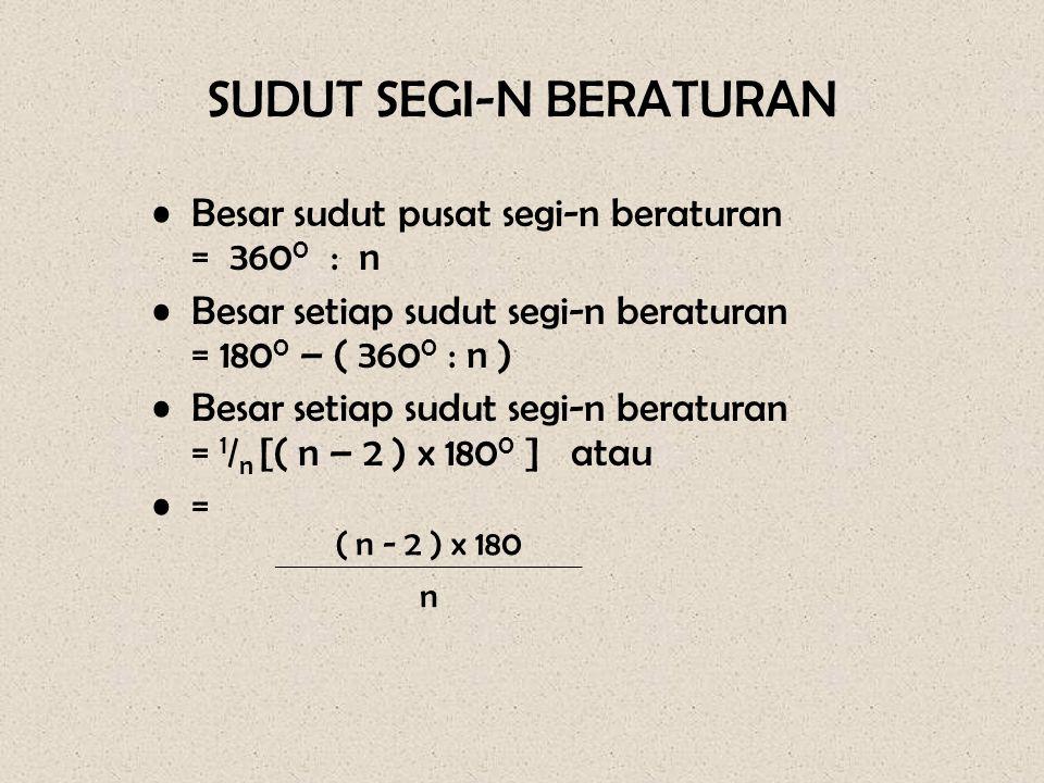 SUDUT SEGI-N BERATURAN •Besar sudut pusat segi-n beraturan = 360 0 : n •Besar setiap sudut segi-n beraturan = 180 0 – ( 360 0 : n ) •Besar setiap sudu