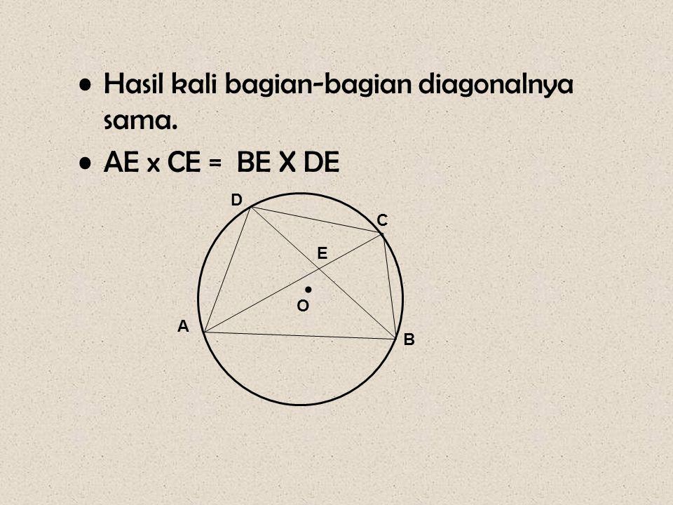 •Hasil kali bagian-bagian diagonalnya sama. •AE x CE = BE X DE • A D C B E O