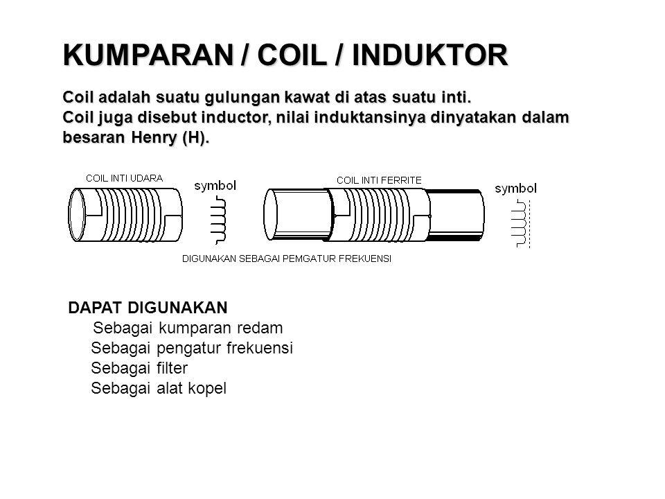 KUMPARAN / COIL / INDUKTOR Coil adalah suatu gulungan kawat di atas suatu inti. Coil juga disebut inductor, nilai induktansinya dinyatakan dalam besar
