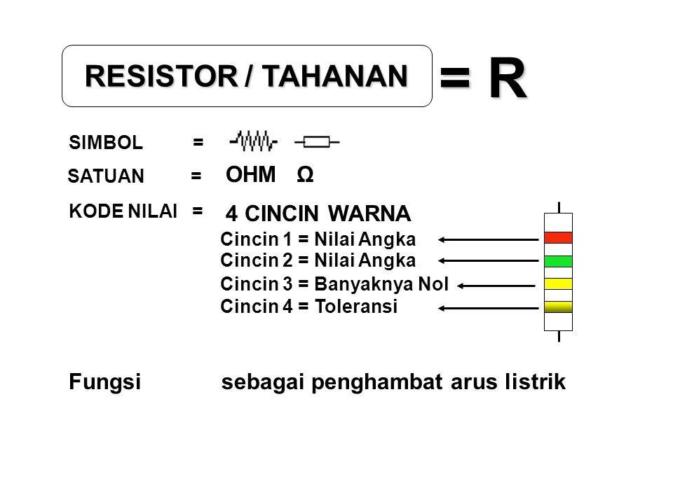 RESISTOR / TAHANAN = R SIMBOL = SATUAN = KODE NILAI = OHM Ω 4 CINCIN WARNA Cincin 1 = Nilai Angka Cincin 2 = Nilai Angka Cincin 3 = Banyaknya Nol Cinc