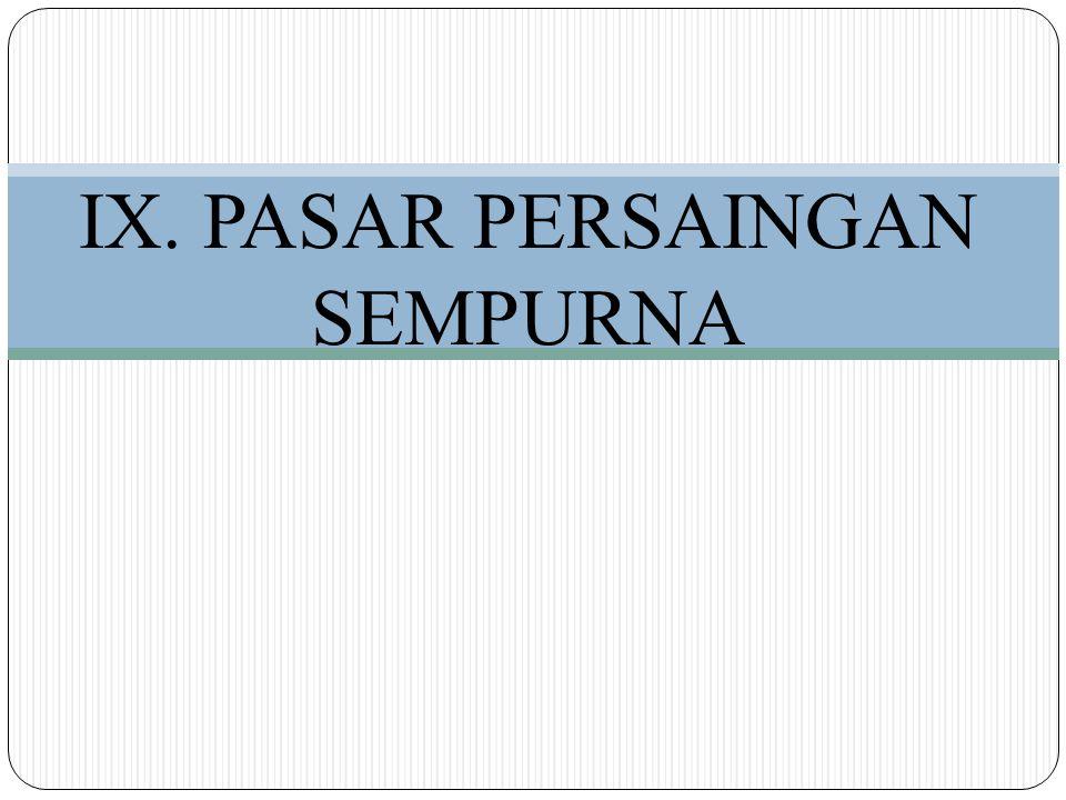 IX. PASAR PERSAINGAN SEMPURNA