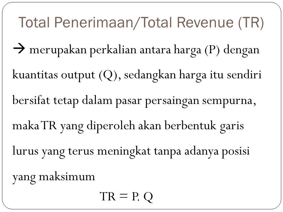 Total Penerimaan/Total Revenue (TR)  merupakan perkalian antara harga (P) dengan kuantitas output (Q), sedangkan harga itu sendiri bersifat tetap dal