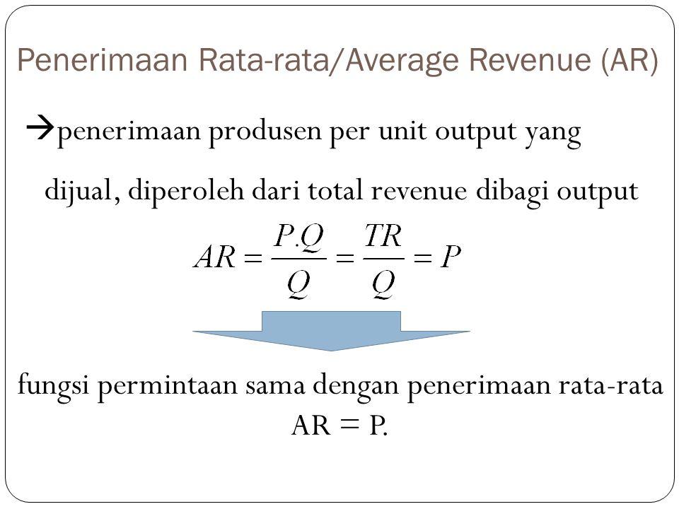 Penerimaan Rata-rata/Average Revenue (AR)  penerimaan produsen per unit output yang dijual, diperoleh dari total revenue dibagi output fungsi permint