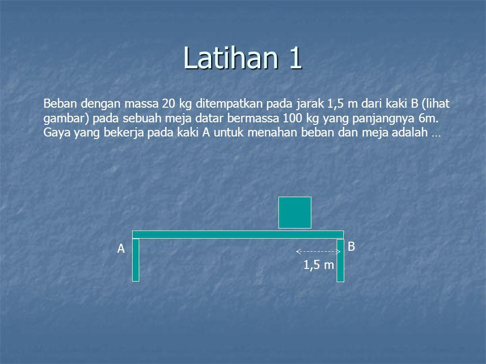 Latihan 1 1,5 m A B Beban dengan massa 20 kg ditempatkan pada jarak 1,5 m dari kaki B (lihat gambar) pada sebuah meja datar bermassa 100 kg yang panja