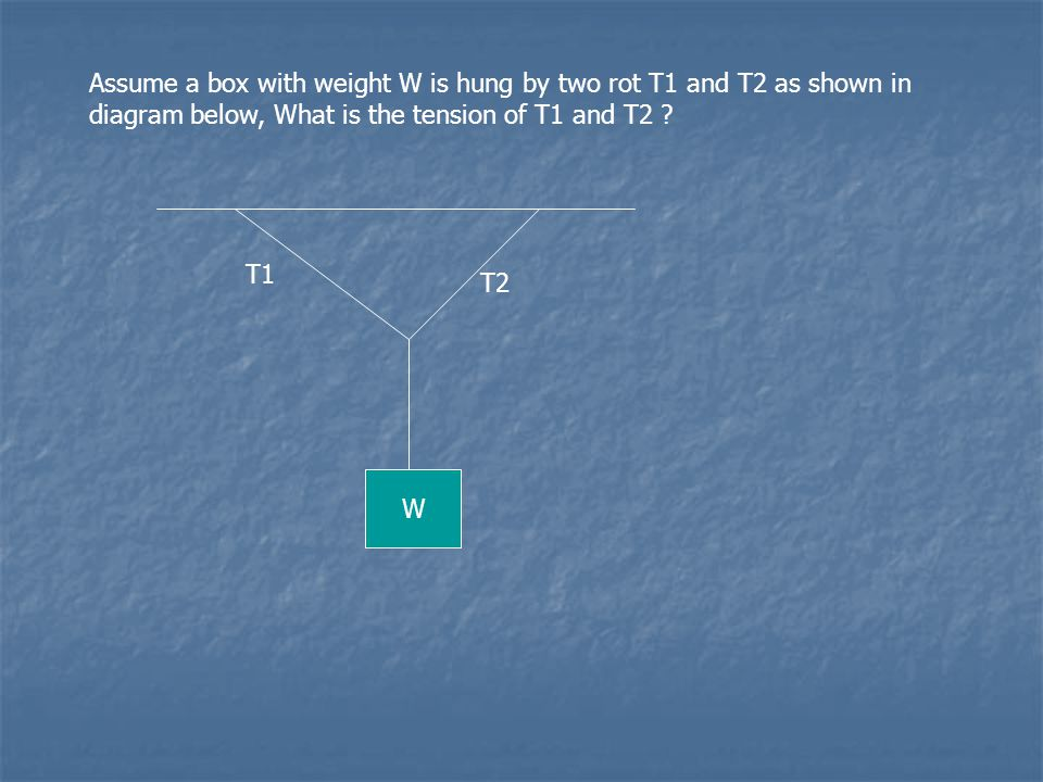 Assume a box with weight W is hung by two rot T1 and T2 as shown in diagram below, What is the tension of T1 and T2 ? T1 T2 W