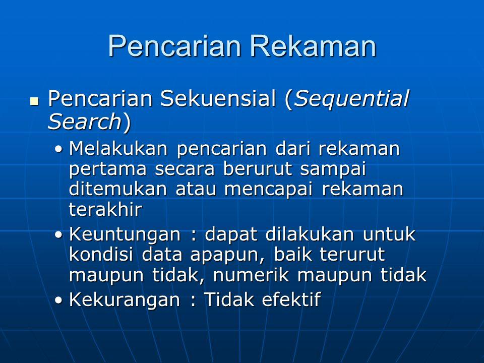 Pencarian Rekaman  Pencarian Sekuensial (Sequential Search) •Melakukan pencarian dari rekaman pertama secara berurut sampai ditemukan atau mencapai r