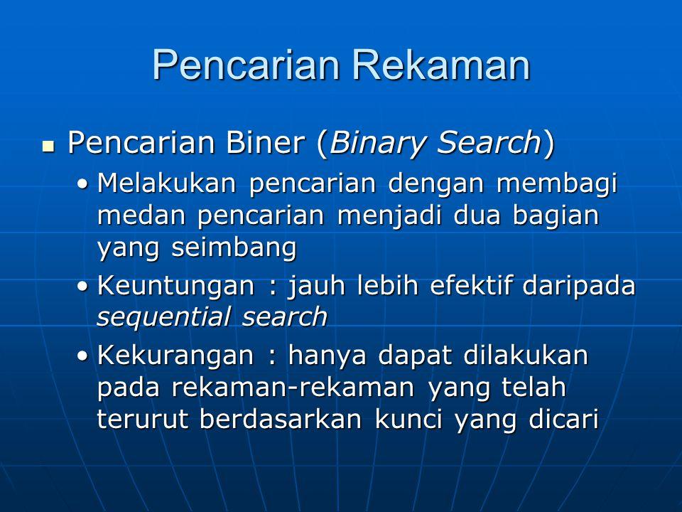 Pencarian Rekaman  Pencarian Biner (Binary Search) •Melakukan pencarian dengan membagi medan pencarian menjadi dua bagian yang seimbang •Keuntungan :