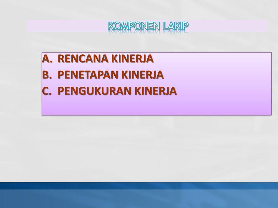 A.RENCANA KINERJA B.PENETAPAN KINERJA C.PENGUKURAN KINERJA A.RENCANA KINERJA B.PENETAPAN KINERJA C.PENGUKURAN KINERJA