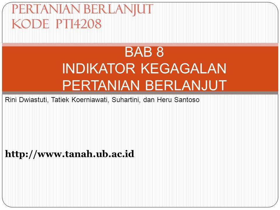 BAB 8 INDIKATOR KEGAGALAN PERTANIAN BERLANJUT Rini Dwiastuti, Tatiek Koerniawati, Suhartini, dan Heru Santoso http://www.tanah.ub.ac.id PERTANIAN BERLANJUT Kode PTI4208