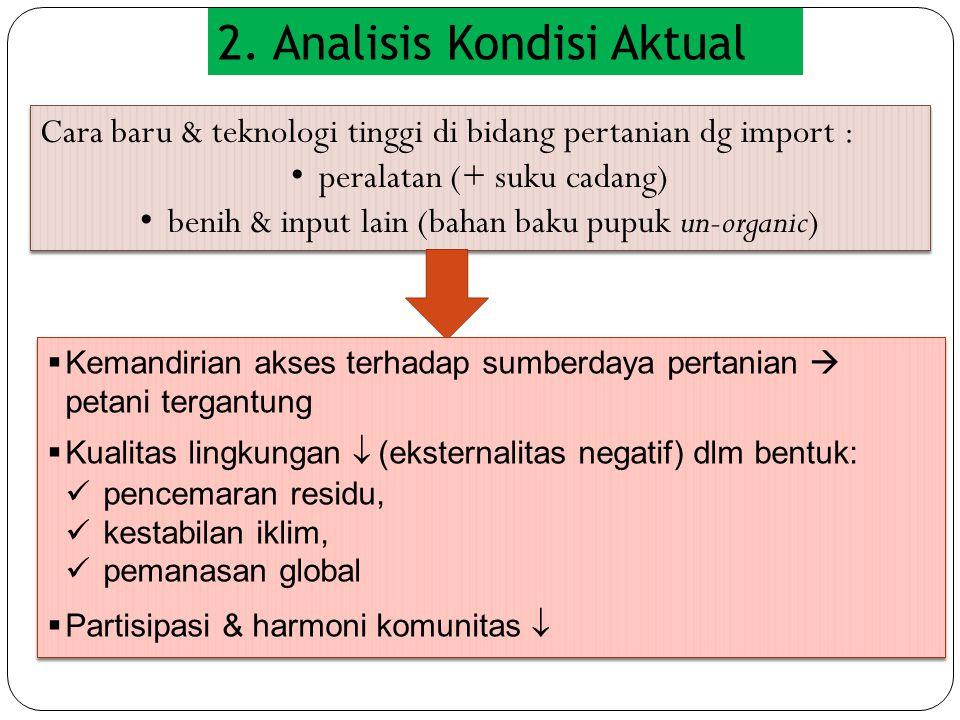 2. Analisis Kondisi Aktual Cara baru & teknologi tinggi di bidang pertanian dg import : • peralatan (+ suku cadang) • benih & input lain (bahan baku p