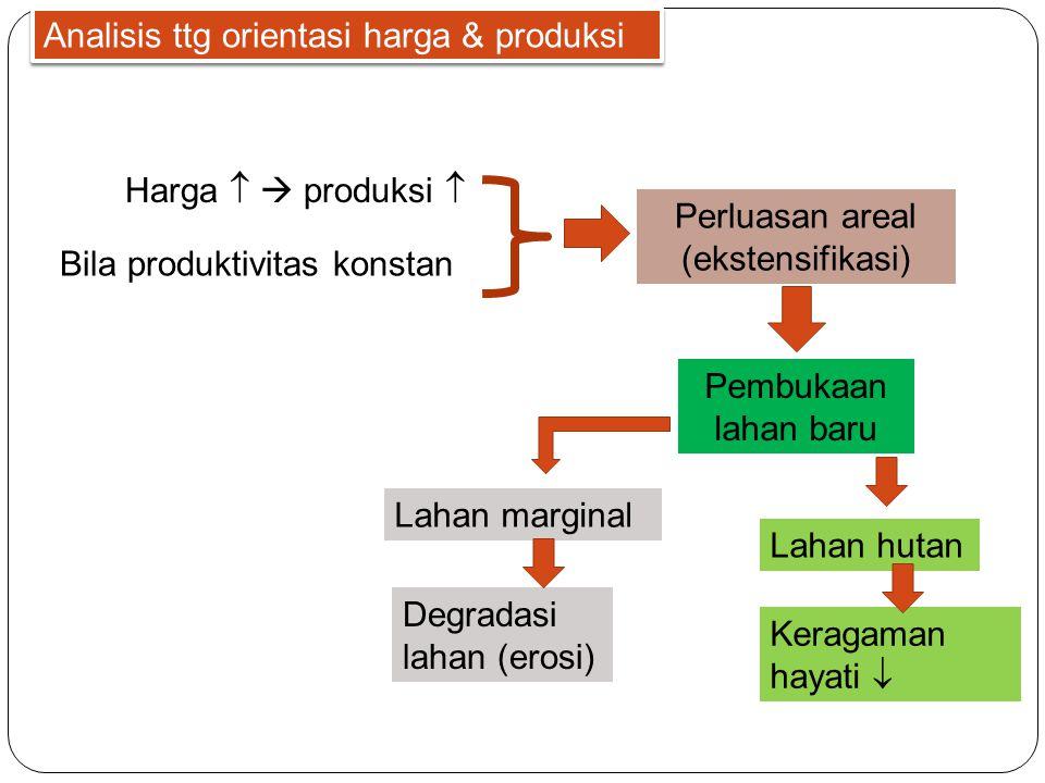 Analisis ttg orientasi harga & produksi Harga   produksi  Bila produktivitas konstan Perluasan areal (ekstensifikasi) Pembukaan lahan baru Lahan marginal Lahan hutan Degradasi lahan (erosi) Keragaman hayati 