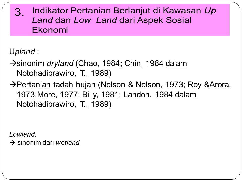 Upland :  sinonim dryland (Chao, 1984; Chin, 1984 dalam Notohadiprawiro, T., 1989)  Pertanian tadah hujan (Nelson & Nelson, 1973; Roy &Arora, 1973;More, 1977; Billy, 1981; Landon, 1984 dalam Notohadiprawiro, T., 1989) Lowland:  sinonim dari wetland