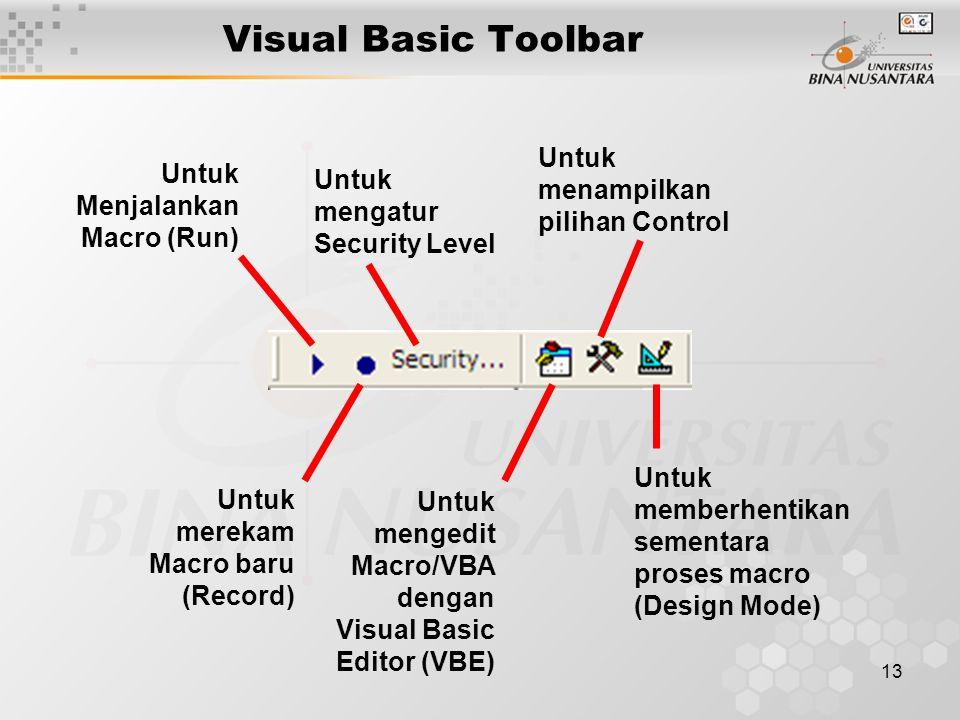 13 Visual Basic Toolbar Untuk Menjalankan Macro (Run) Untuk merekam Macro baru (Record) Untuk mengatur Security Level Untuk mengedit Macro/VBA dengan Visual Basic Editor (VBE) Untuk menampilkan pilihan Control Untuk memberhentikan sementara proses macro (Design Mode)