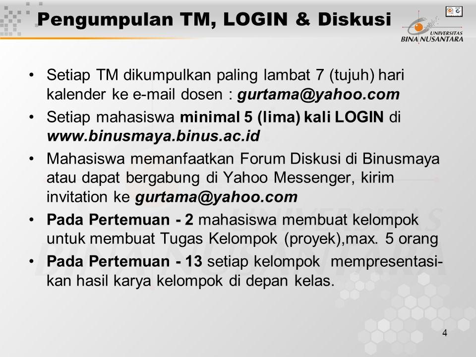 4 •Setiap TM dikumpulkan paling lambat 7 (tujuh) hari kalender ke e-mail dosen : gurtama@yahoo.com •Setiap mahasiswa minimal 5 (lima) kali LOGIN di ww