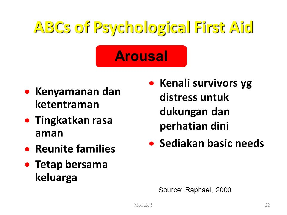 ABCs of Psychological First Aid  Lindungi dari tindankan berbahaya/berresiko  Hubungkan dg support systems  Redirect to constructive, helping behaviors  Bantu untuk mampu melewati pengalaman ini  Reutilize activities  Ajari perilaku adaptif Module 523 Behavior Source: Raphael, 2000