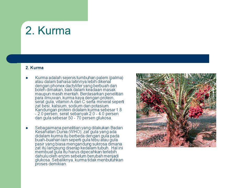 2. Kurma  Kurma adalah sejenis tumbuhan palem (palma) atau dalam bahasa latinnya lebih dikenal dengan phonex dactylifer yang berbuah dan boleh dimaka