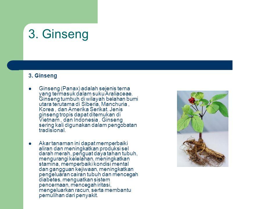 3. Ginseng  Ginseng (Panax) adalah sejenis terna yang termasuk dalam suku Araliaceae. Ginseng tumbuh di wilayah belahan bumi utara terutama di Siberi