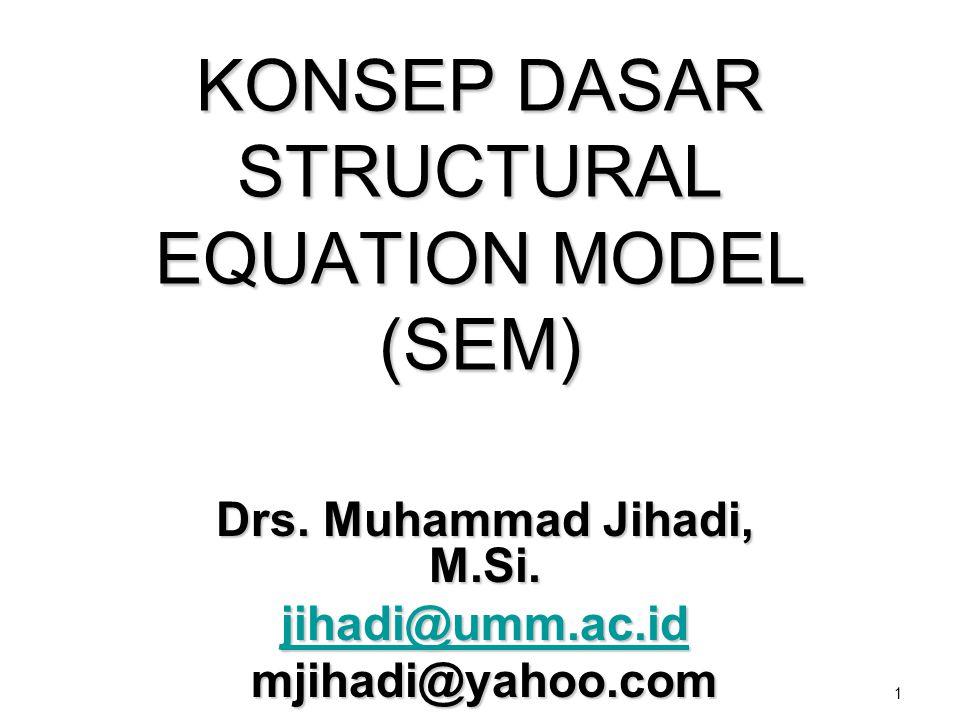 1 KONSEP DASAR STRUCTURAL EQUATION MODEL (SEM) Drs. Muhammad Jihadi, M.Si. jihadi@umm.ac.id jihadi@umm.ac.idmjihadi@yahoo.com