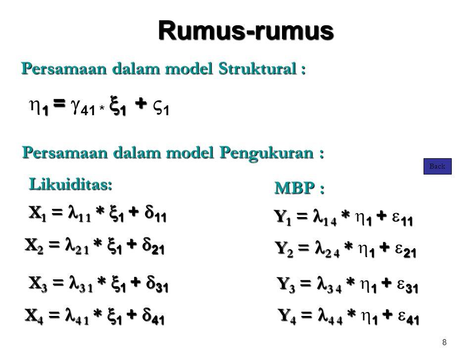 8 Rumus-rumus X 1 =  1 1 *  1 +  11 X 2 =  2 1 *  1 +  21 X 3 =  3 1 *  1 +  31 X 4 =  4 1 *  1 +  41 Y 1 =  1 4 * 1 + 11 Y 1 =  1 4 * 