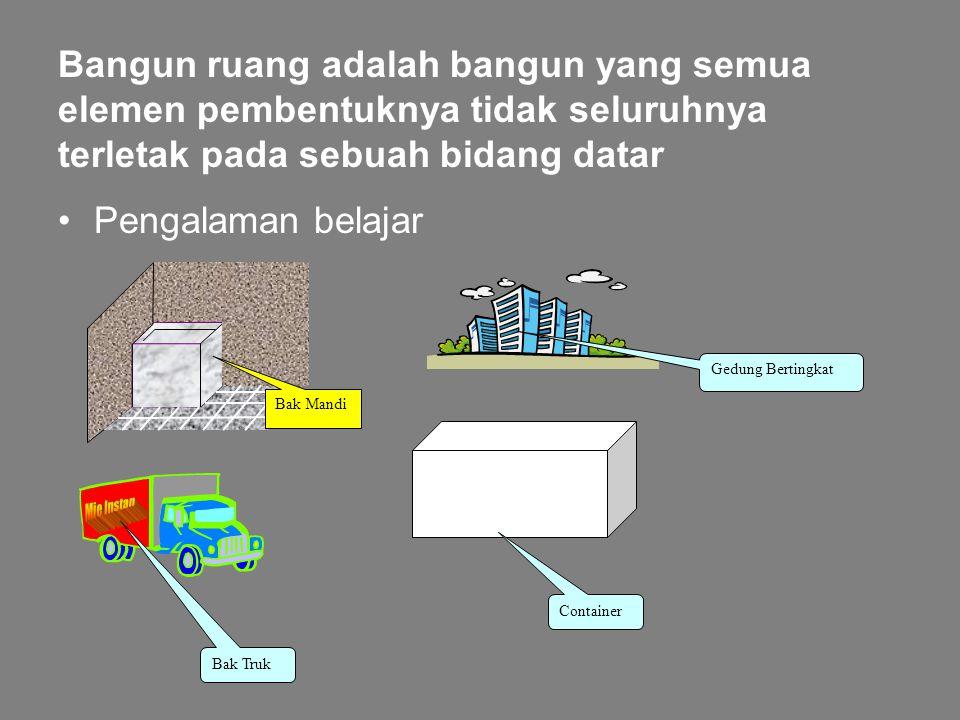 GEOMETRI DIMENSI TIGA Kompetensi Dasar: 1. Mengidentifikasi bangun ruang dan unsur-unsurnya 2. Menghitung luas permukaan 3. Menerapkan konsep volume b
