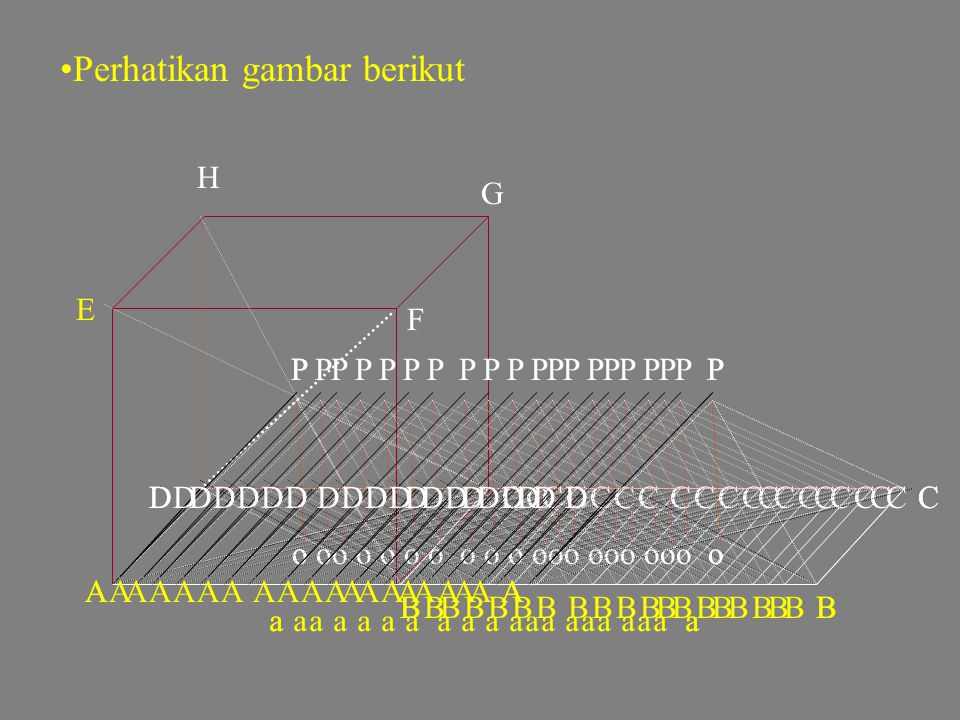 Langkah-langkah menurunkan rumus volume limas: •misalkan panjang rusuk sebuah kubus a satuan, maka volume kubus a3a3 satuan •Buat kerangka kubus denga