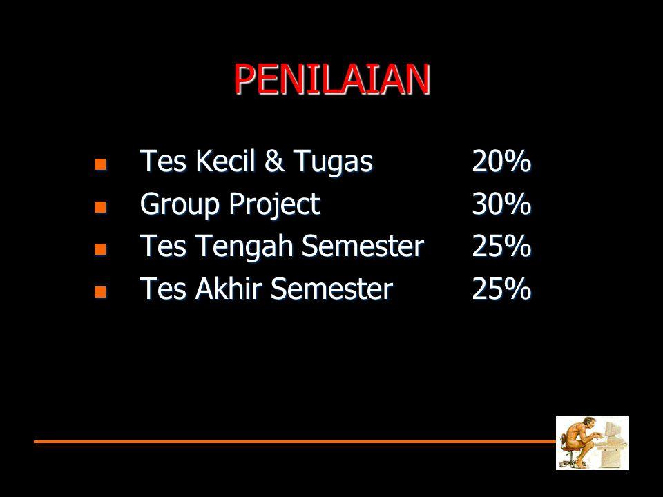 PENILAIAN  Tes Kecil & Tugas 20%  Group Project30%  Tes Tengah Semester25%  Tes Akhir Semester25%