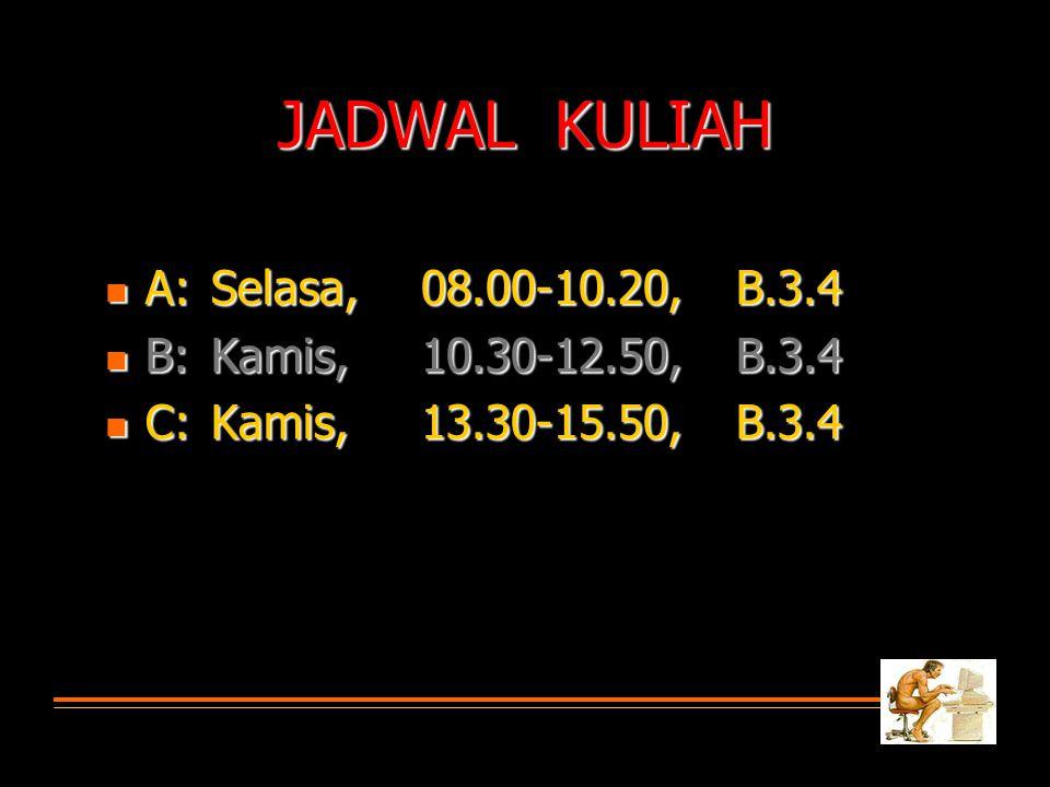 JADWAL KULIAH  A: Selasa, 08.00-10.20, B.3.4  B:Kamis,10.30-12.50,B.3.4  C:Kamis,13.30-15.50,B.3.4