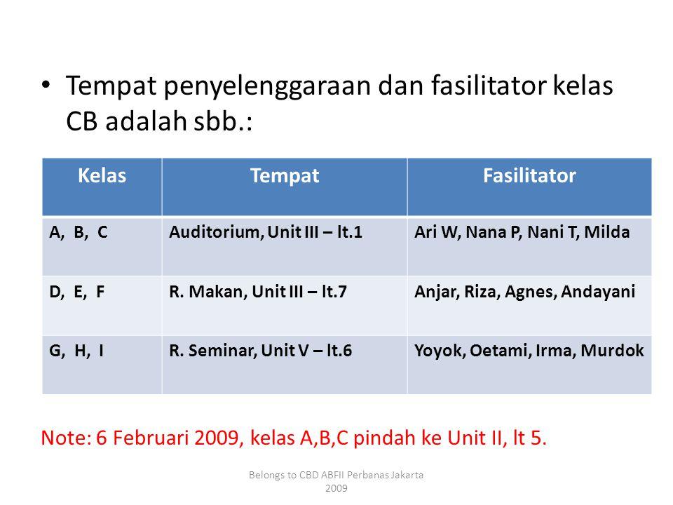 • Tempat penyelenggaraan dan fasilitator kelas CB adalah sbb.: Note: 6 Februari 2009, kelas A,B,C pindah ke Unit II, lt 5.