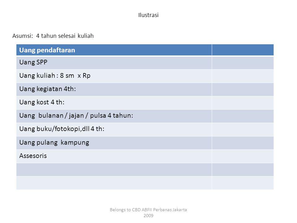 Ilustrasi Asumsi: 4 tahun selesai kuliah Uang pendaftaran Uang SPP Uang kuliah : 8 sm x Rp Uang kegiatan 4th: Uang kost 4 th: Uang bulanan / jajan / pulsa 4 tahun: Uang buku/fotokopi,dll 4 th: Uang pulang kampung Assesoris Belongs to CBD ABFII Perbanas Jakarta 2009