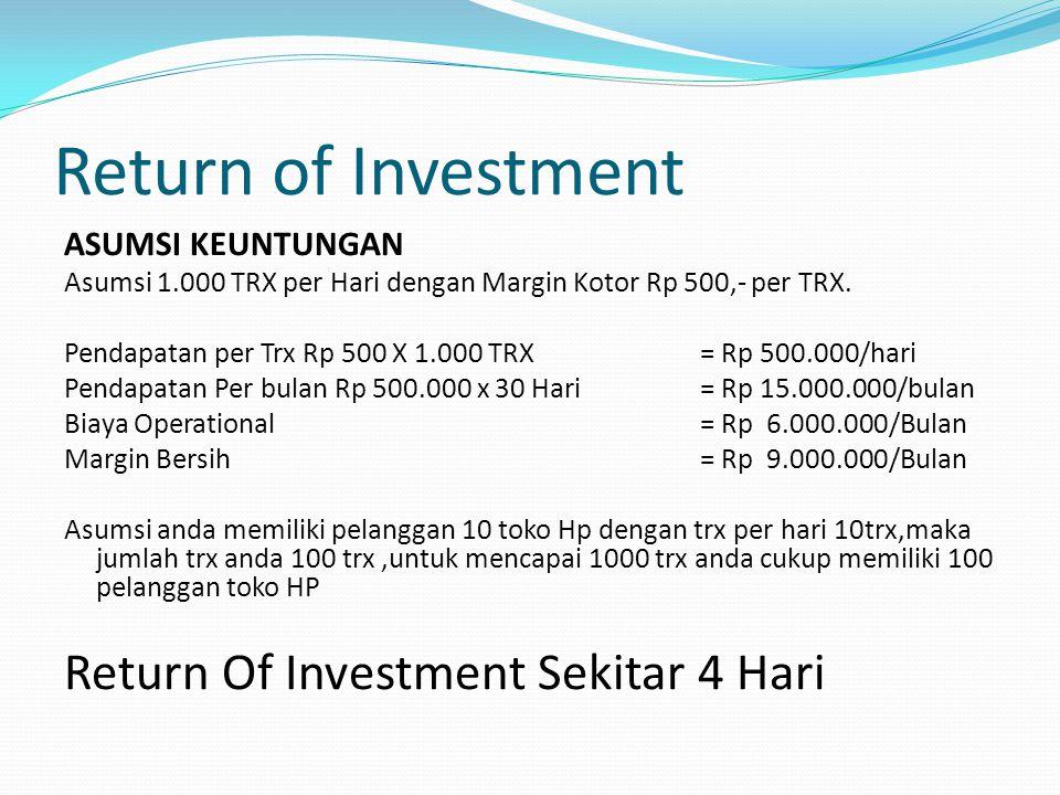 Return of Investment ASUMSI KEUNTUNGAN Asumsi 1.000 TRX per Hari dengan Margin Kotor Rp 500,- per TRX.