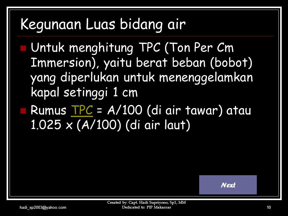 hadi_sp2003@yahoo.com Created by: Capt. Hadi Supriyono, Sp1, MM Dedicated to: PIP Makassar10 Kegunaan Luas bidang air UUntuk menghitung TPC (Ton Per