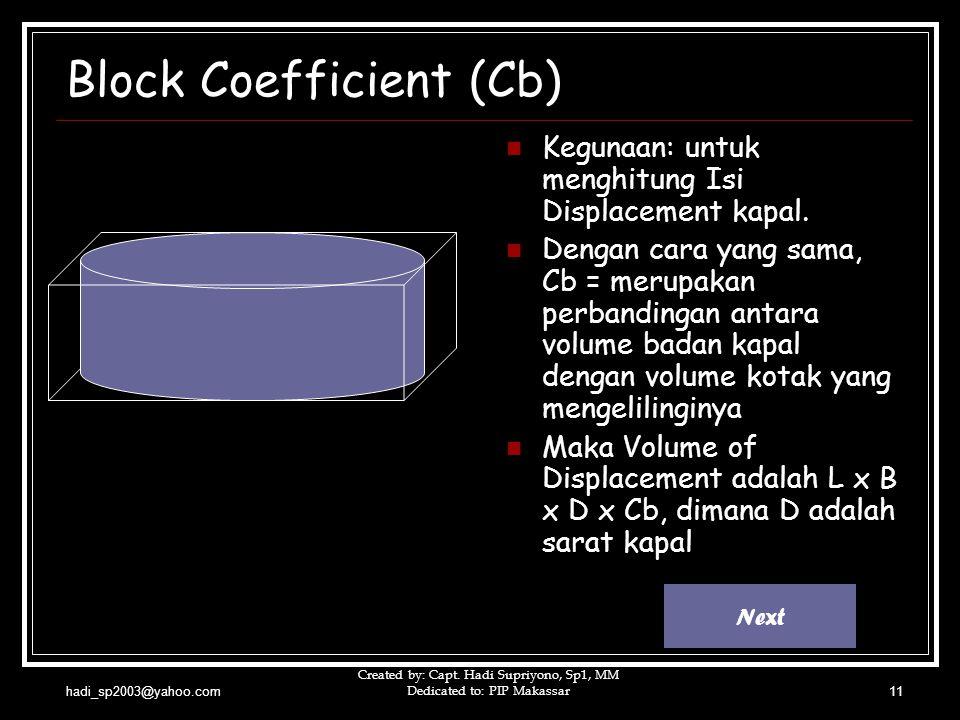 hadi_sp2003@yahoo.com Created by: Capt. Hadi Supriyono, Sp1, MM Dedicated to: PIP Makassar11 Block Coefficient (Cb)  Kegunaan: untuk menghitung Isi D
