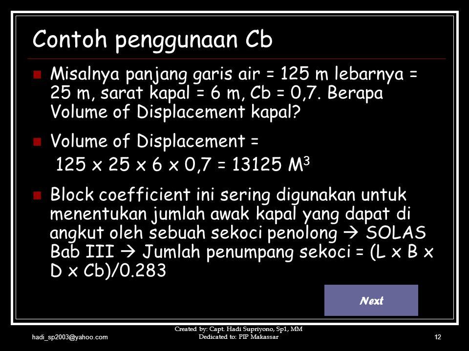 hadi_sp2003@yahoo.com Created by: Capt. Hadi Supriyono, Sp1, MM Dedicated to: PIP Makassar12 Contoh penggunaan Cb  Misalnya panjang garis air = 125 m