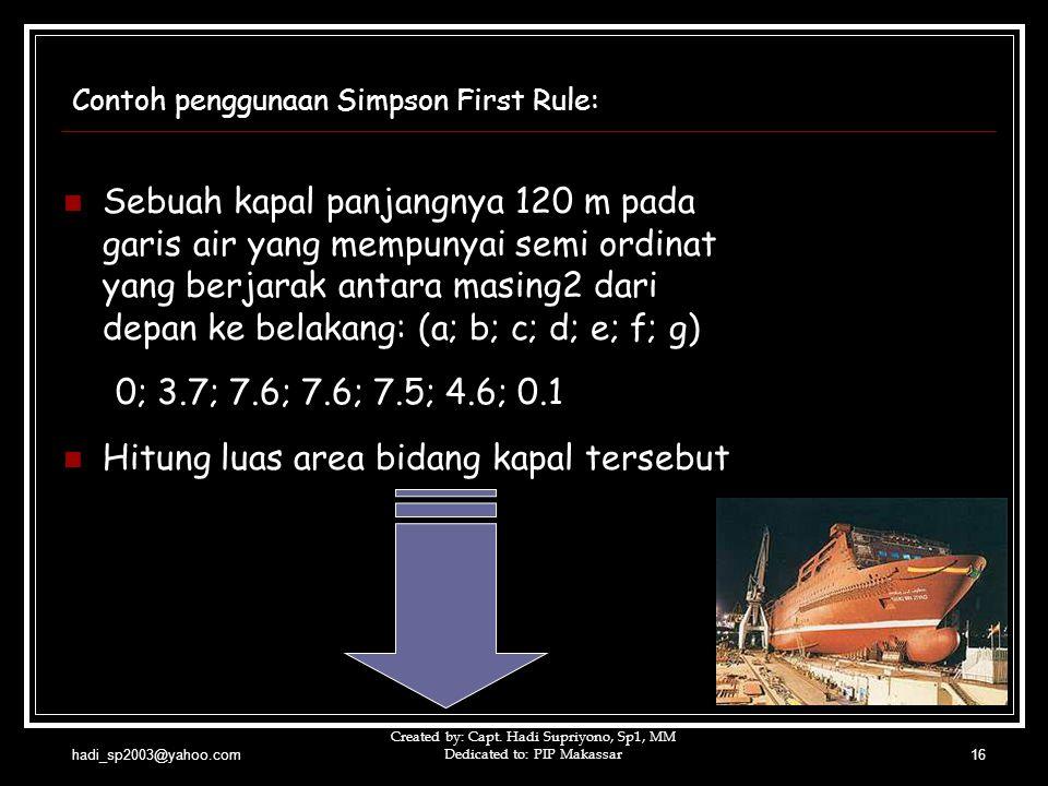 hadi_sp2003@yahoo.com Created by: Capt. Hadi Supriyono, Sp1, MM Dedicated to: PIP Makassar16 Contoh penggunaan Simpson First Rule:  Sebuah kapal panj